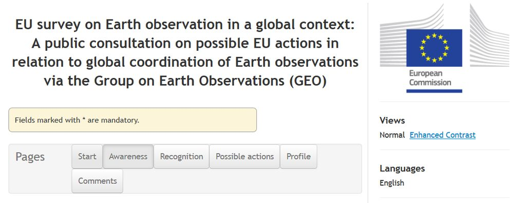 EU survey on Earth observation in a global context
